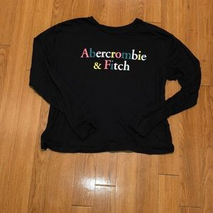 Abercrombie and Fitch black multi colored long t